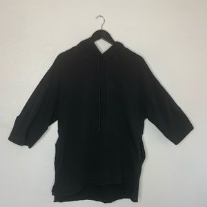 Zara Black Hoodie Oversized 1/2 Sleeve Small